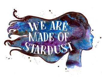 Galaxy Silhouette Cosmos Space Stardust Hand Painted Watercolor Print
