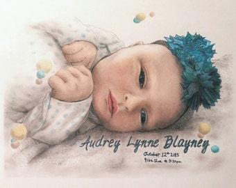 BABY PORTRAIT, Custom Drawing, Monogrammed Baby Gift, Custom Baby Portrait, Portrait From Photos, Portrait