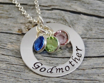 Ready to Ship - Hand Stamped Jewelry - Personalized Jewelry - Godmother Necklace - Sterling Silver Necklace - Three Birthstones