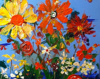 Wild flowers acrylic painting on canvas with stretchers 12 inches by 16 inches