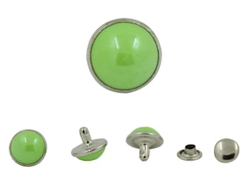 60 pcs. Green Pearl Steel Rapid Rivet Stud Buttons Leather Craft Fashion Accessories Diy Decor Sizes 10 mm. PL G 10 202