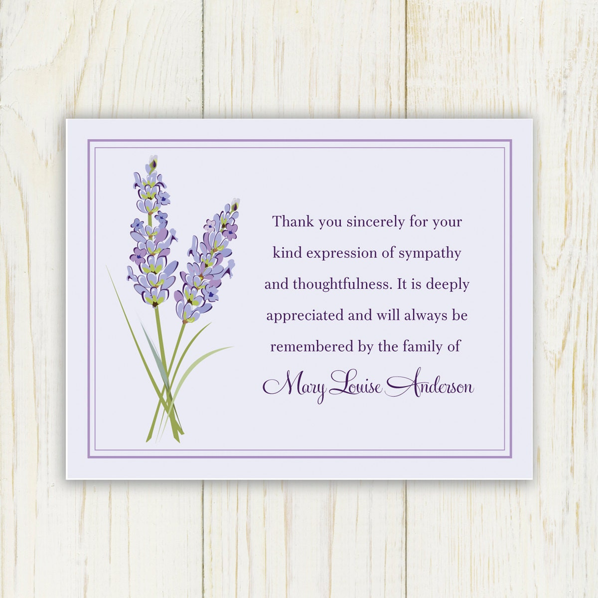 Lavendar funeral thank you card printable digital file zoom thecheapjerseys Image collections