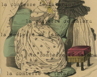 Original Antique French Fashion Print from the 1830s