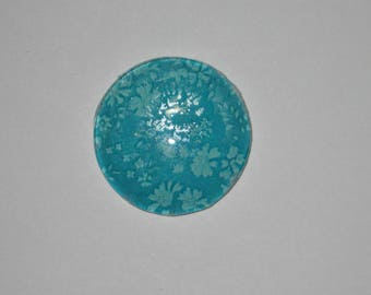 Turquoise cabochon 25 mm round domed with turquoise flowers liberty image