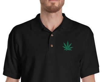 Cannabis Leaf Weed 420 Pot Embroidered Polo Shirt