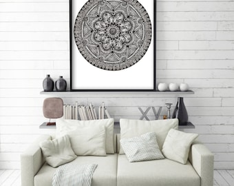 Original Drawing - Folk Mandala - Art Print, Wall Decor, Illustration, Poster