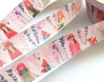 Girl Pink Washi Tape / Pink Girl Decorative Tape / Pink Cartoon Masking Tape 10m h11