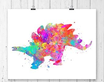 Stegosaurus Dinosaur #3 Watercolor  Fine  Art Print, Poster, Wall Art, Home Decor, Kids Wall Art, Play Room Wall Art, Wall Decor