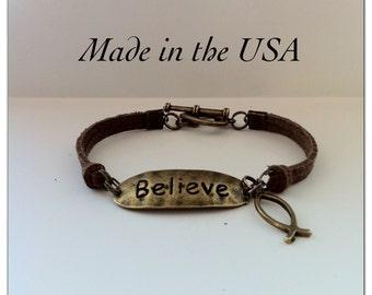 Believe Bracelet, Jesus Fish bracelet, Faith Bracelet, Christian Bracelet, Christian Jewelry, Brown Suede Leather, Believe Ichthus Bracelet