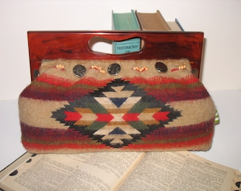 Southwest Betty Clutch with Vintage Bakelite Handle by fancibags on Etsy