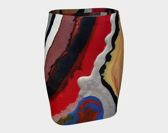 Red White Mixed Fitted Skirt: Wear this fitted skirt to the office or a night on the town. U look wonderful.