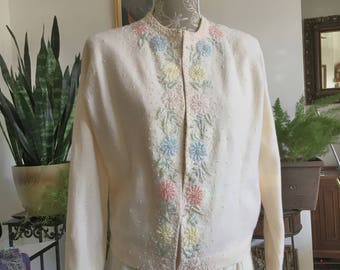 50s Beaded Cardigan Sweater Size XL // Vintage Beaded Cardigan