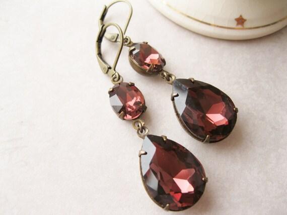 Merlot Drop Earrings, Deep Burgundy Garnet, Statement Earrings, Old Hollywood Glam, Rhinestone Earrings, Holiday Jewellery.