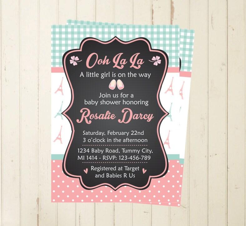 paris baby shower brunch invite oh la la invitation paris