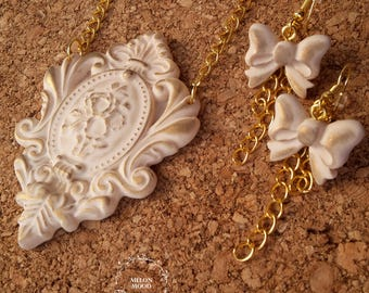 Vintage polymer clay set, Pendant & Earrings set, Polymer clay jewelry, Handmade jewelry, Gift idea