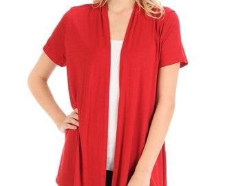Short Sleeve Open Front Vest Red