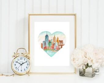 NYC Love Art Print (Travel Art Print - Travel Decor - New York City Art Print - NYC Skyline - Wall Art)