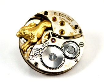 Steampunk Hare Pin, Steampunk Rabbit Brooch, Hare in the Moon