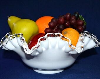 Fenton White Ruffled Edge Bowl, Fenton Silver Crest White Bowl, Fenton Ruffled Edge Fruit/Serving Bowl