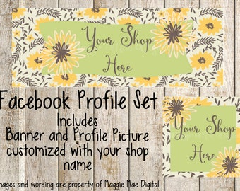 Abstract Sunflowers Facebook Set, Facebook banner, Facebook graphics, Facebook cover photo, store graphics, timeline set, flowers, floral
