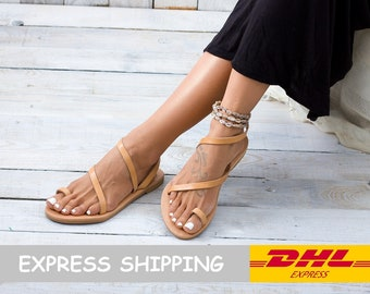 SYROS Greek sandals, strappy sandals, leather sandals, Greek leather sandals, flat sandals