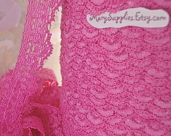 3yds Elastic Pink Lace Trim Stretch Scolloped edge 5/8 inch Headband Single sided Elastic by the Lace yard RLzz