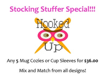 Crocheted Coffee Cup Cozy or Sleeve Deal - Any 5 for 36.00