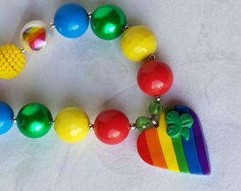 St. Patrick's Day Girls Shamrock Rainbow Chunky Necklace, Irish Clover, Bubblegum Necklace, Rainbow Heart Pendant