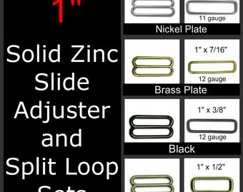 "10 SETS - 1"" - ZINC Sliders and 1 inch Rectangular Loops, 25.4mm, Nickel or Brass Plate, Antique Brass or Black"