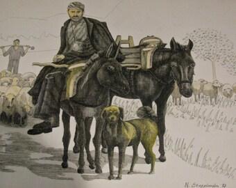 Vintage India Ink Watercolor Painting / Drawing / Greek / Sheepherder