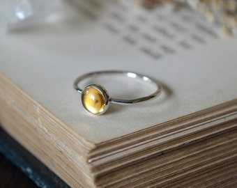 Citrine Ring 925 - Stacking Ring - Dainty Ring - Success, Personal Power - November Birthstone