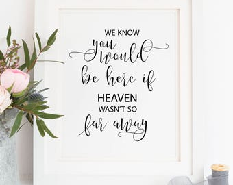 Printable. We know you would be here if heaven wasn't so far away, wedding memorial sign, memorial reception sign, memorial sign, 00L1
