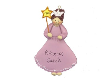Personalized Princess Christmas Ornament for Little Girl- Princess Girl Ornament