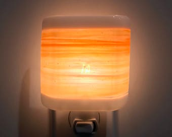 Bathroom night light etsy glass night light orange and white streaky fused glass kitchen or bathroom lighting housewarming mozeypictures Image collections