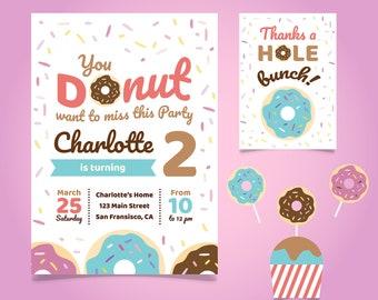 Circus birthday invitation circus ticket birthday invitation donut invitation donut birthday invitation donut birthday card donut birthday invitation card stopboris Images