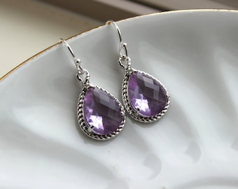 Silver Lavender Earrings Purple Lilac Teardrop Pendant - Purple Bridesmaid Earrings Wedding Earrings Bridal Earrings Lavender Silver Jewelry