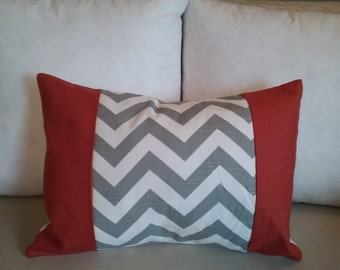 Orange pillow cover, gray pillow cover, pillow cover, burnt orange, gray chevron, travel pillow, accent pillow, throw pillow, home decor