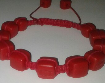Red Polymer Clay adjustable Bracelet