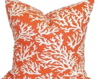 ORANGE PILLOW.Pillow Cover.Decorative Pillow Cover.Beach Decor.Orange Throw Pillow. Nautical Pillow.Cushion. Outdoor Pillow, 18x18 inch