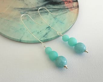 Long aqua earrings, Sterling silver, Long earrings, Modern, Boho, thehappylittlebeader