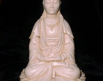 Quan Yin Buddha Statue Goddess of Compassion in Lighter Faux Ivory