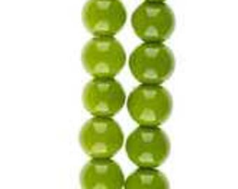 494 - Plastic, 6mm, Round, Spring Green - Package of 40