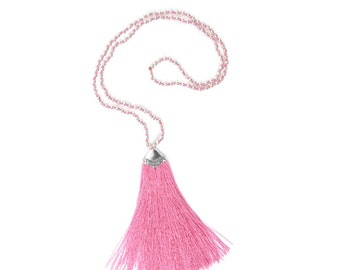 Pink boho Balinese Variation necklace / / / necklace with a silky cotton tassel and silver beads