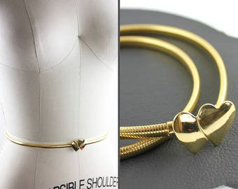 Two Hearts that Meet as One Thin Gold Metal Elastic Belt - size small