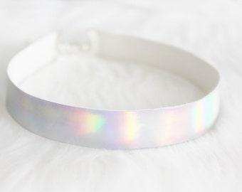 Holographic choker, iridescent grunge necklace