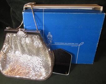 1945 Art Deco Whiting and Davis Silver tone Mesh Purse~New in Box~NIB
