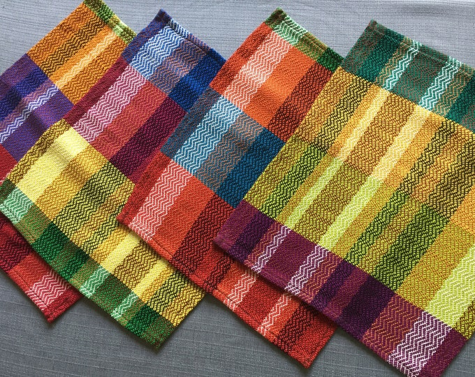Featured listing image: Set of 4 XL Napkins, Handwoven Napkins, Zig-Zag Pattern, Fiesta Party Napkins, Handwoven Table Linens, Handmade Napkins, Picnic Napkins