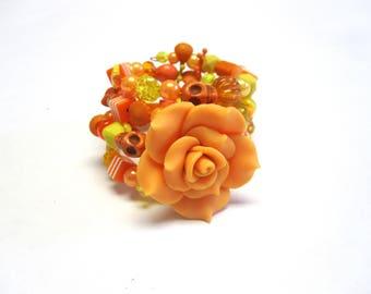 Orange Tangerine Sugar Skull Bracelet Day of the Dead Jewelry