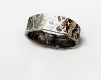 Mans silver ring. Rugged and masculine hammer textured wide band ring.