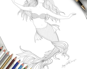 Printable Colouring Page Mermaid 3